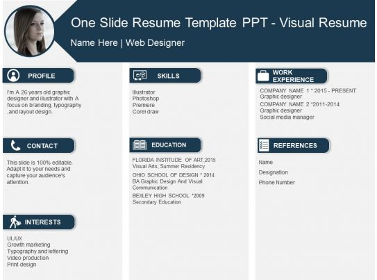 One Slide Resume Template Ppt Visual Resume PowerPoint Templates - visual resume templates
