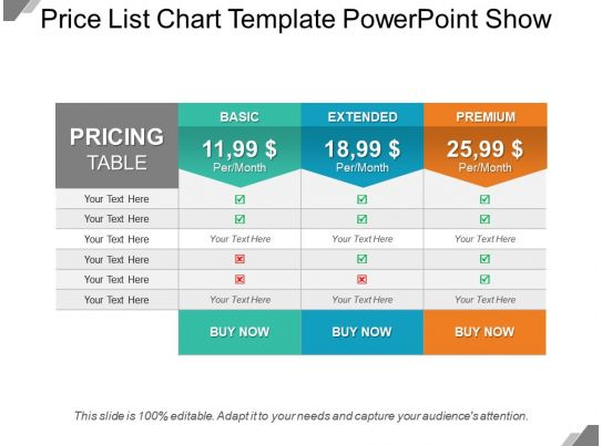 Price List Chart Template Powerpoint Show Templates PowerPoint - price chart template