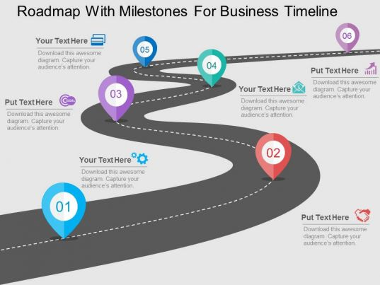 Case Studiesbusinessmanagementeconomicsstrategy Roadmap With Milestones For Business Timeline Flat