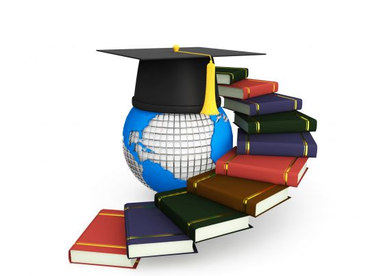 Stairs Made Of Books With Globe And Graduation Cap Stock