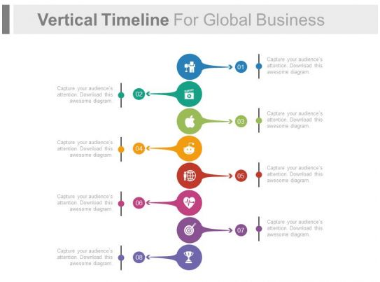Vertical Timeline For Global Business Success Analysis Flat - timeline word template