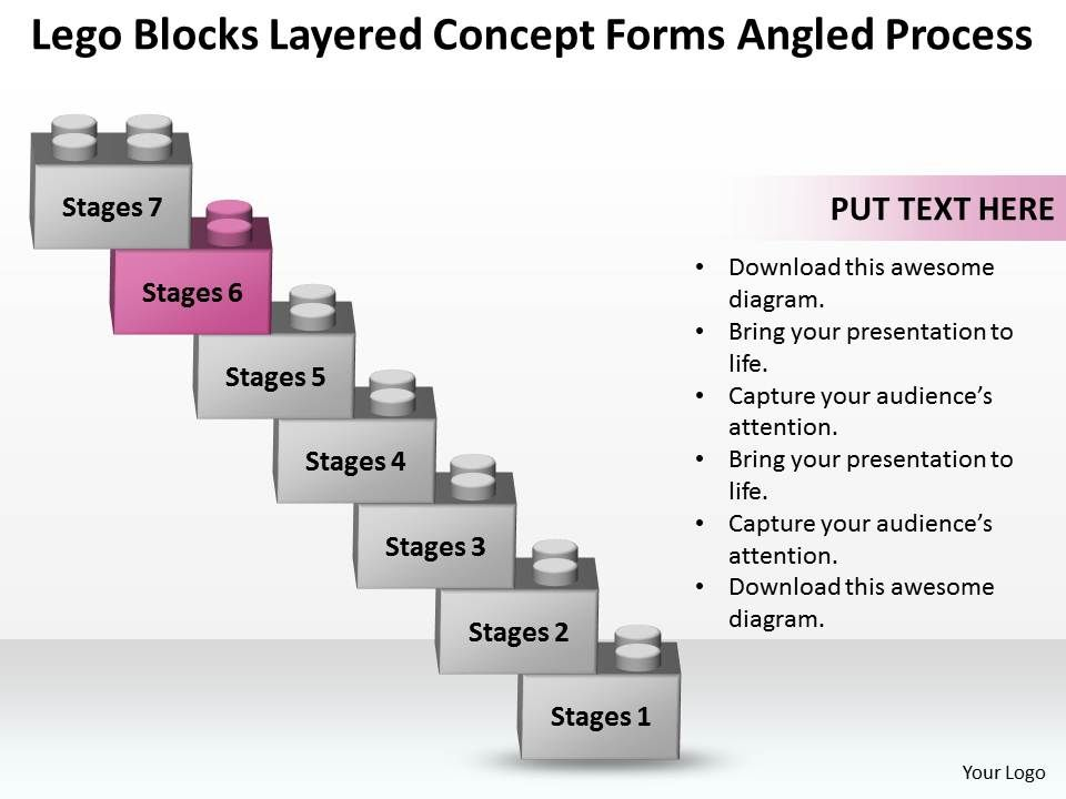 Plan Powerpoint Business Template Business Plan Layered Concept Forms Angled Process