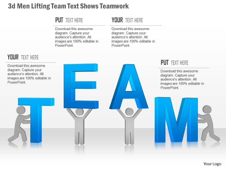0115 3d Men Lifting Team Text Shows Teamwork Powerpoint Template - teamwork powerpoint