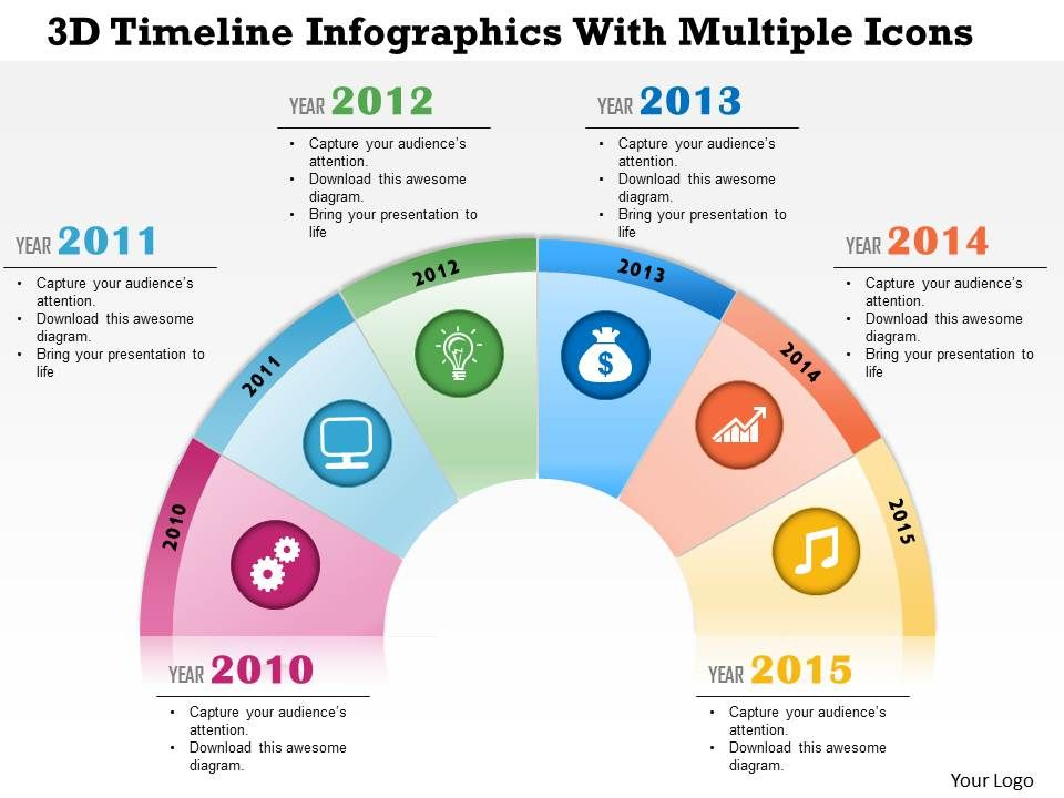 0115 3D Timeline Infographics With Multiple Icons PowerPoint - powerpoint infographic template