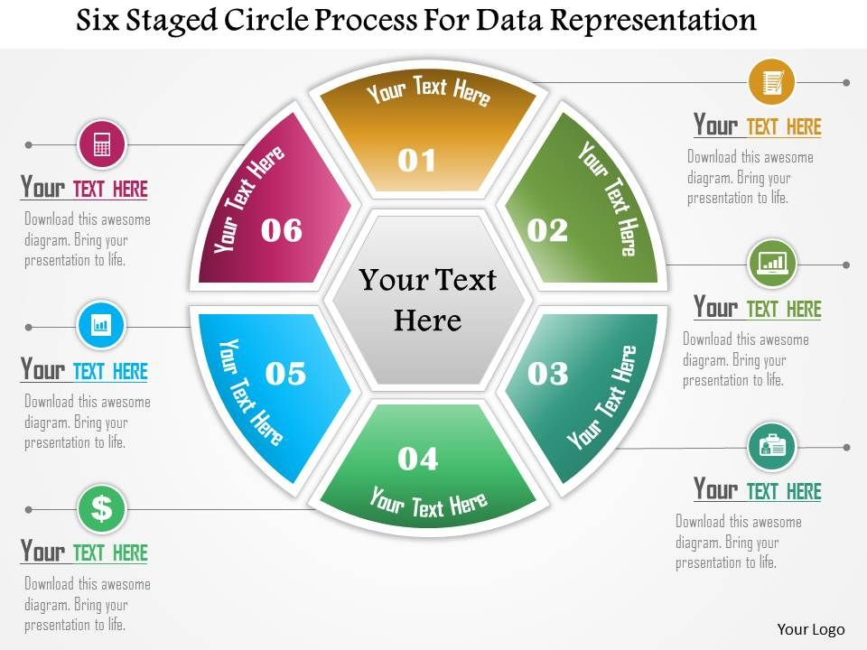 0115 Six Staged Circle Process For Data Representation Powerpoint