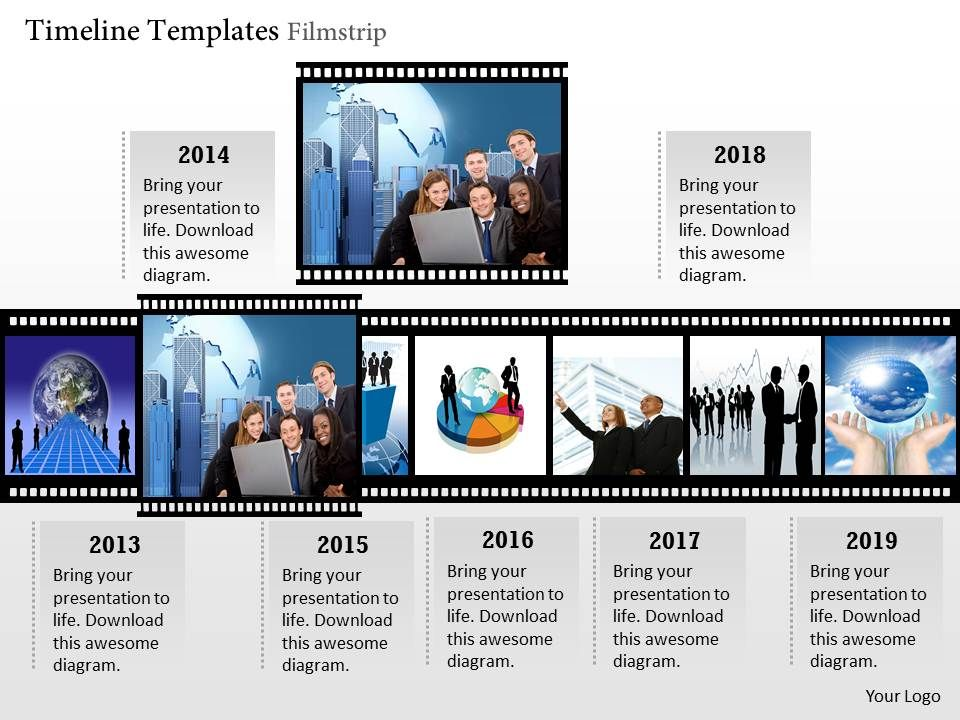 0414 Timeline Template Filmstrip Powerpoint Presentation PPT