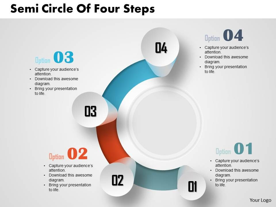 0514 Business Consulting Diagram Semi Circle Of Four Steps - consulting presentation templates
