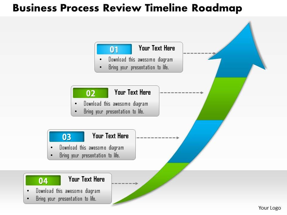 0514 Business Process Review Timeline Roadmap 4 Stage Powerpoint - business review template