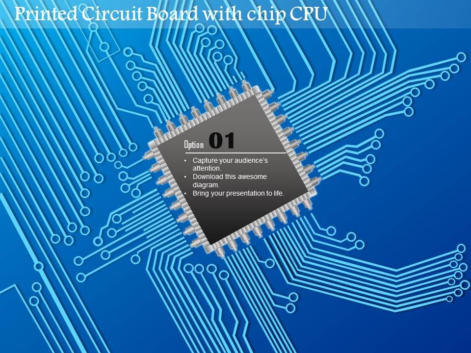0814 Printed Circuit Board PCB With Chip CPU In The Middle And