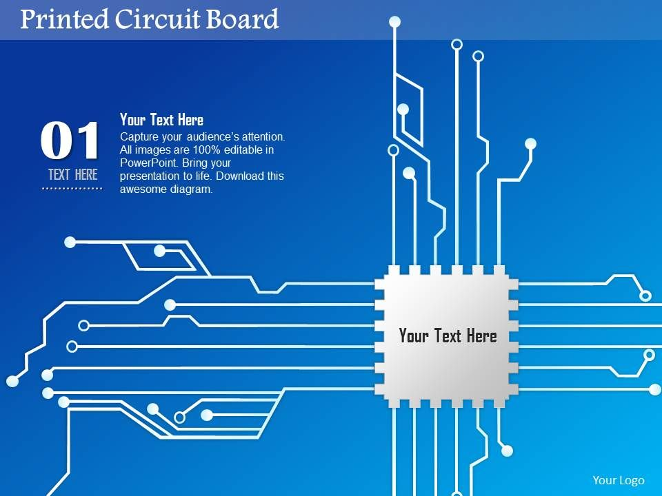 0814 Printed Circuit Board PCB With CPU Chip Icon For Chip Design