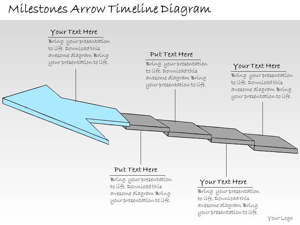 1013 Business Ppt Diagram Milestones Arrow Timeline Diagram - timeline slide powerpoint