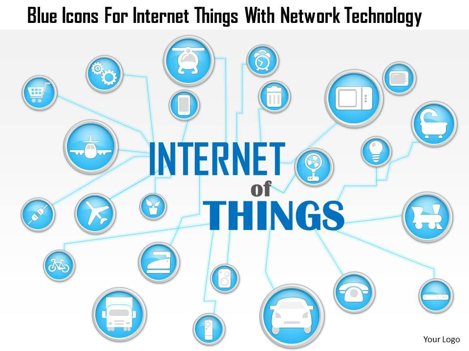 1214 Blue Icons For Internet Things With Network Technology