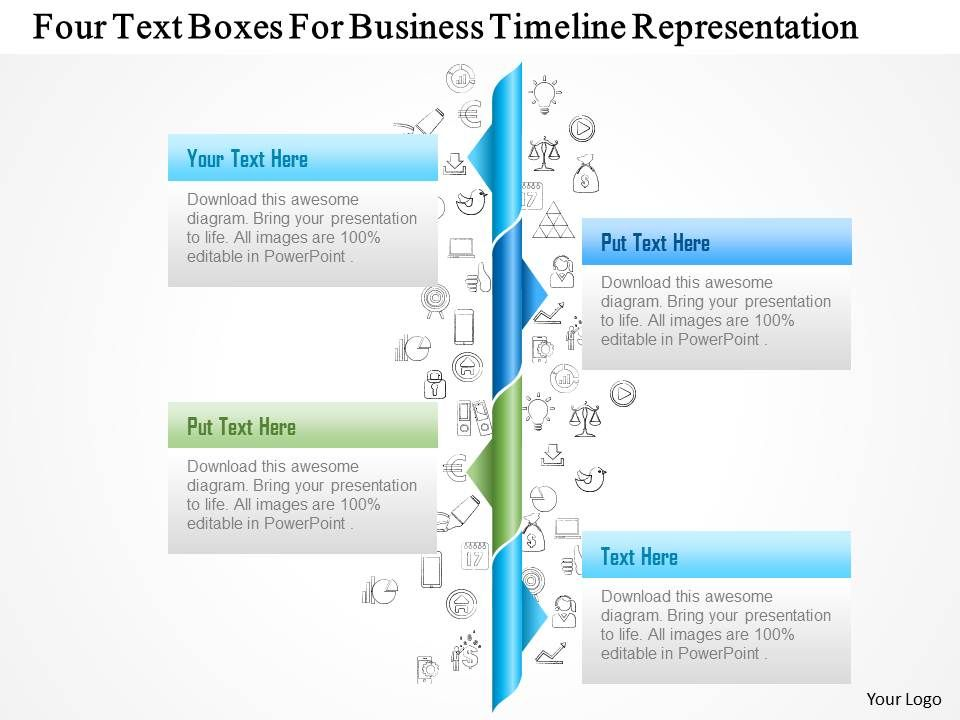 1214 Four Text Boxes For Business Timeline Representation PowerPoint - sample business timeline