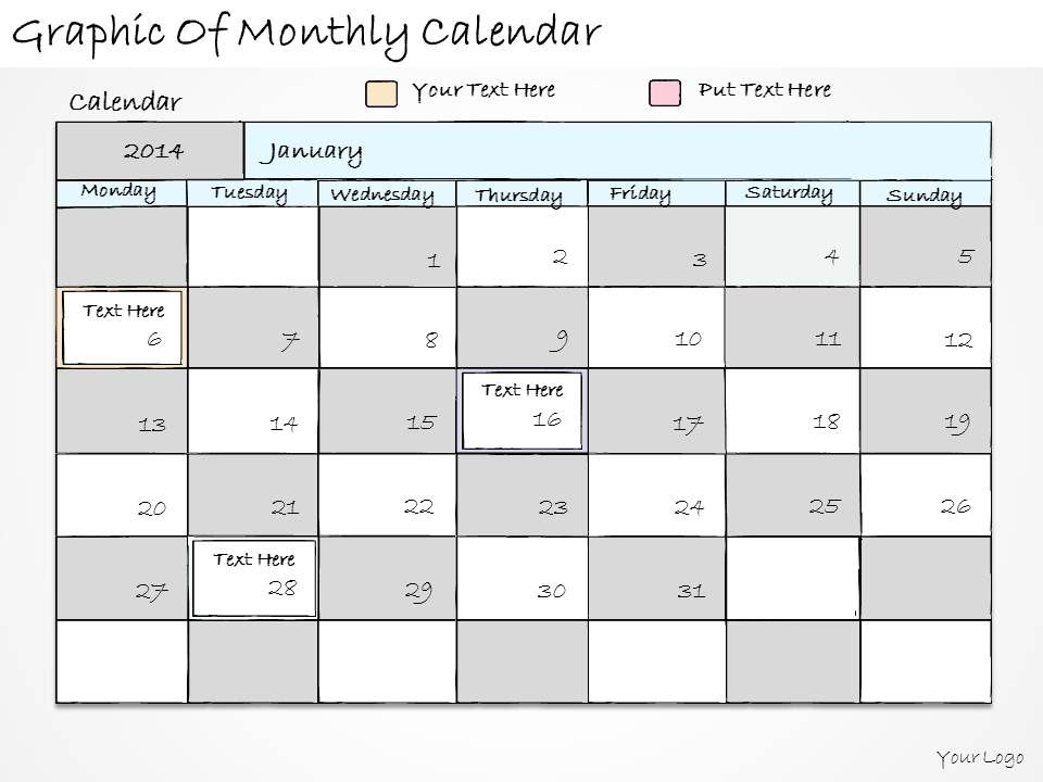 1814 Business Ppt Diagram Graphic Of Monthly Calendar Powerpoint - sample power point calendar