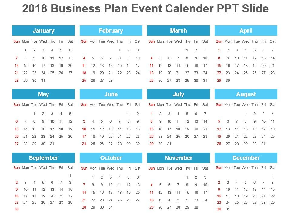 2018 Business Plan Event Calender Ppt Slide PowerPoint Slide - sample power point calendar