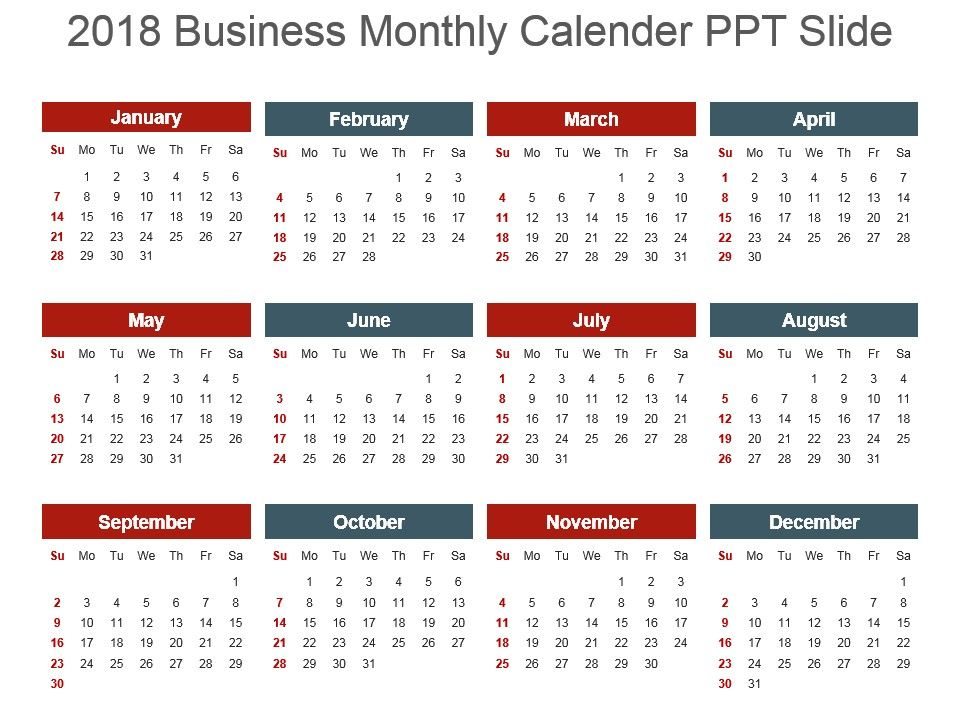2018 Monthly Calender Ppt Slides PowerPoint Slide Presentation - sample power point calendar