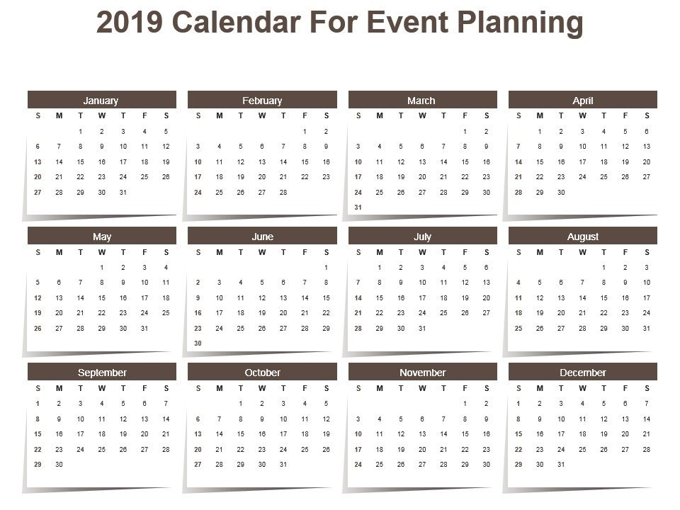 2019 Calendar For Event Planning Powerpoint Template PowerPoint - sample planning calendar