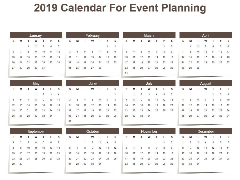 2019 Calendar For Event Planning Powerpoint Template PowerPoint - sample planning calendar