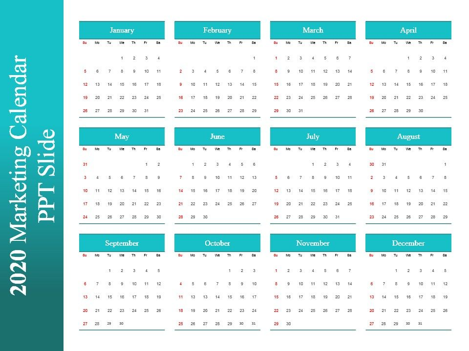 2020 Marketing Calendar Ppt Slide PowerPoint Presentation Sample - sample power point calendar