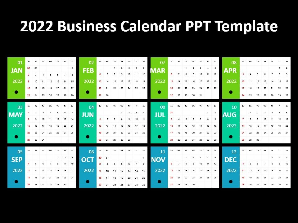 2022 Business Calendar Ppt Template PowerPoint Presentation Slides - sample power point calendar