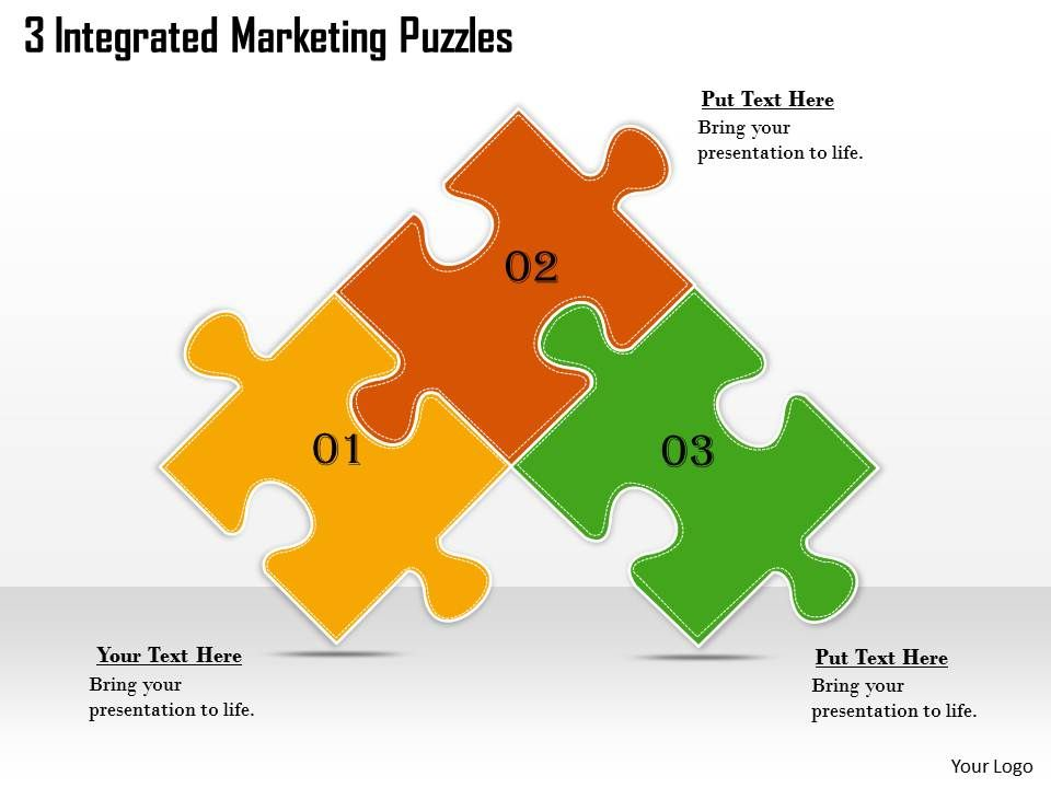 2613 Business Ppt diagram 3 Integrated Marketing Puzzles Powerpoint