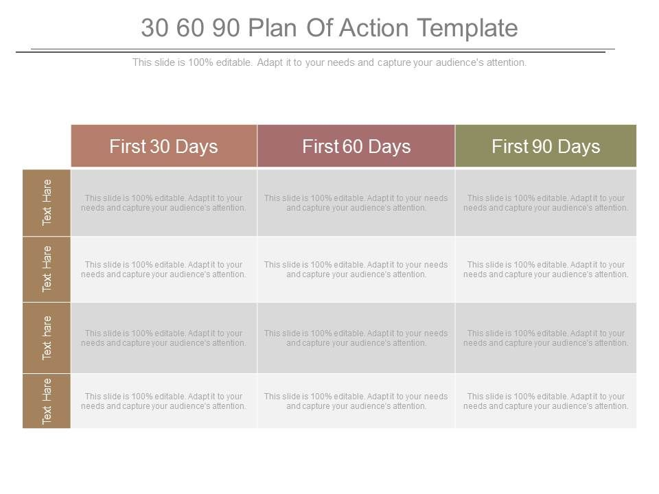30 60 90 Plan Of Action Template Powerpoint Templates Presentation