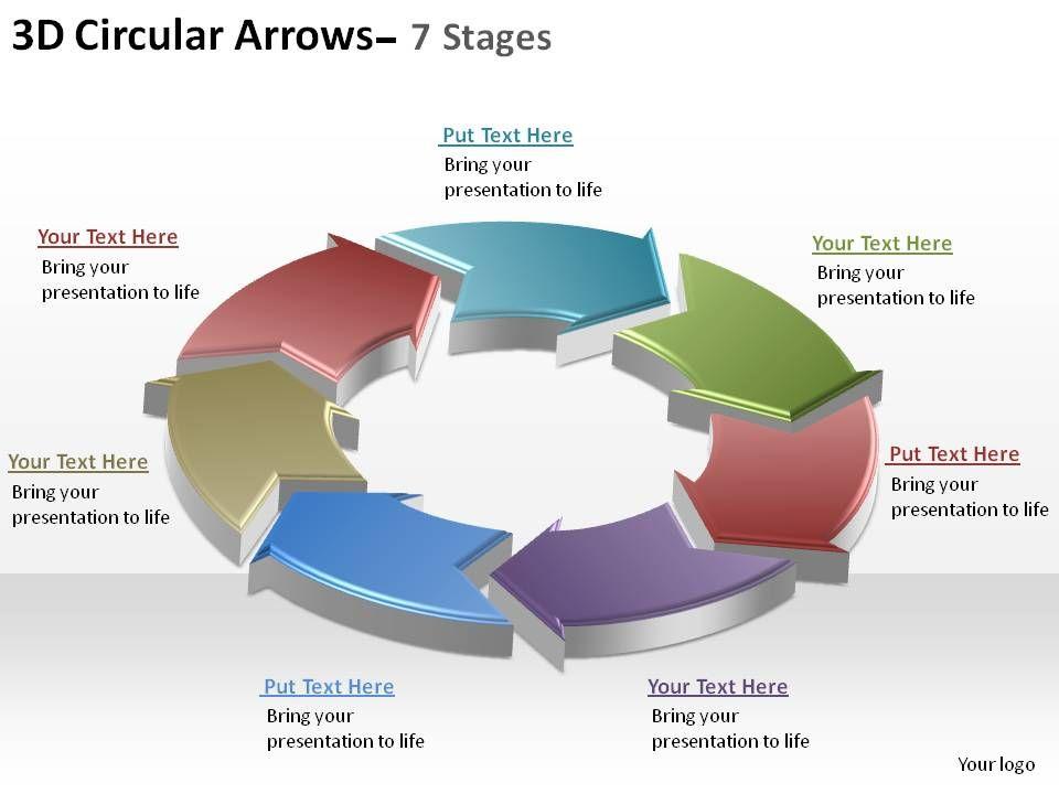 3d circular arrows process smartart 7 stages ppt slides diagrams - smartart powerpoint template