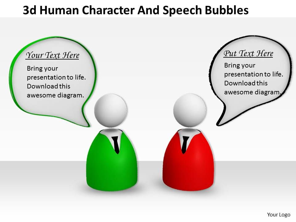 3d Human Character And Speech Bubbles Ppt Graphics Icons Powerpoint - bubbles power point
