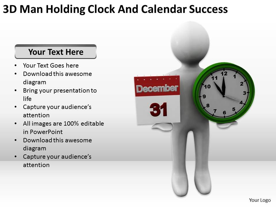 3D Man Holding Clock And Calendar Success Ppt Graphics Icons - sample power point calendar