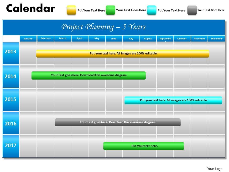 5 year planning Gantt Chart PowerPoint slides Gantt PPT templates - sample power point calendar