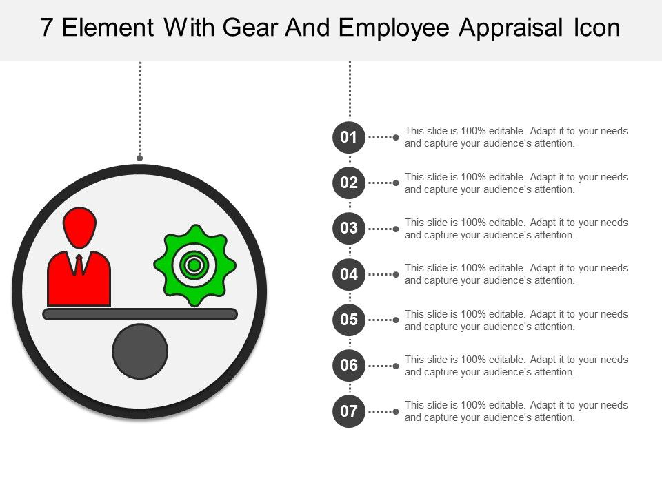 7 Element With Gear And Employee Appraisal Icon Presentation - Employee Presentations