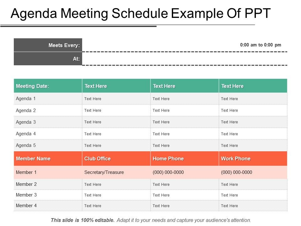 Agenda Meeting Schedule Example Of Ppt PowerPoint Templates