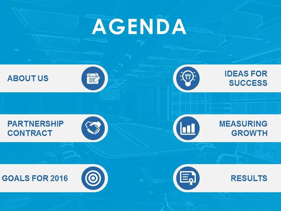 Agenda Template Design With Icons Image Background Powerpoint Slide