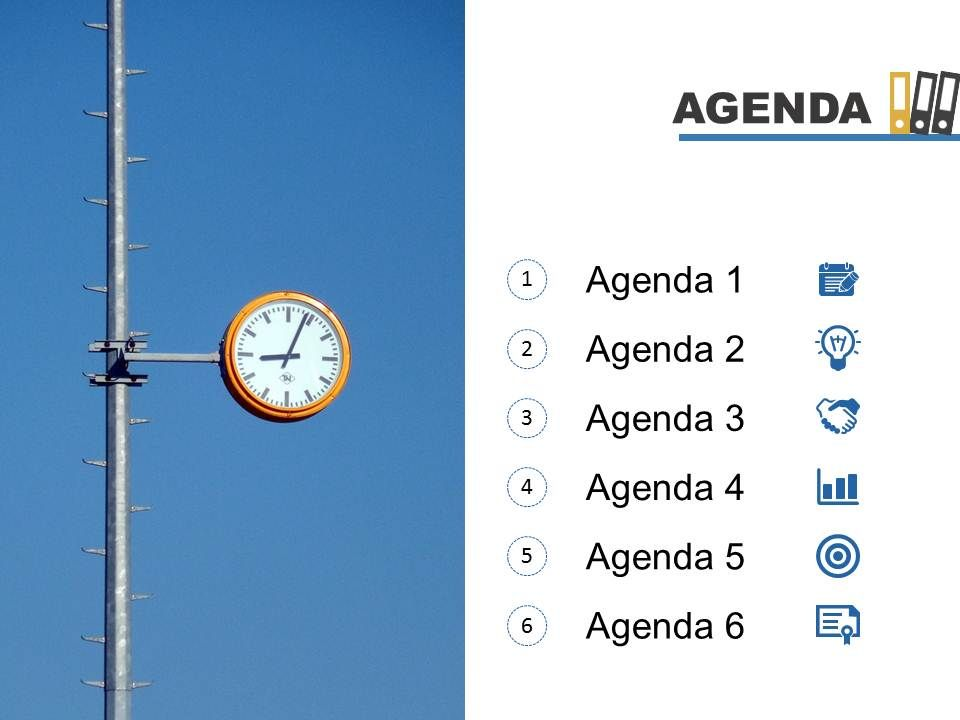 Agenda Template Slide With Clock And Books On Top Powerpoint Slide - powerpoint books