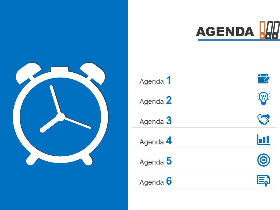 Agenda Template Slide With Clock For Time Management Powerpoint