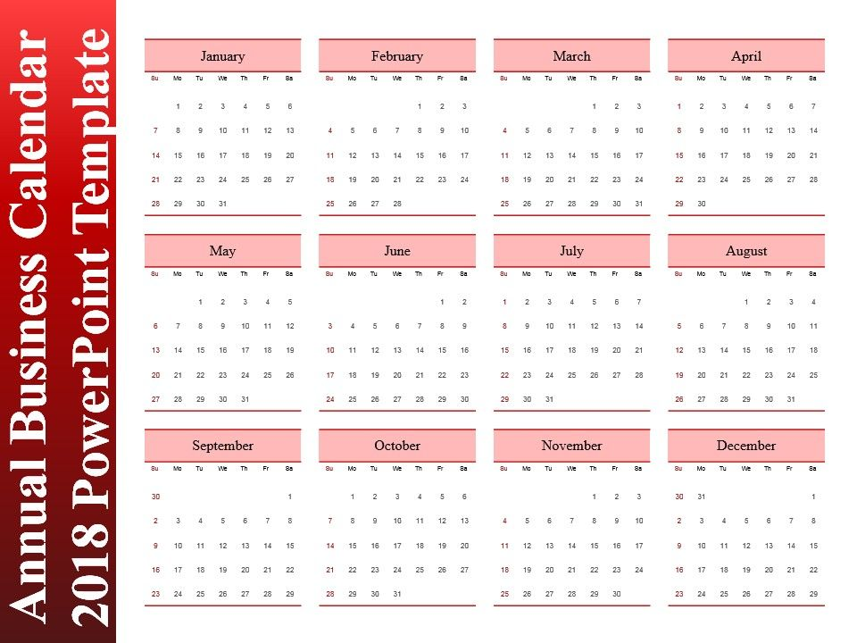 Annual Business Calendar 2018 Powerpoint Template PowerPoint Slide - sample power point calendar