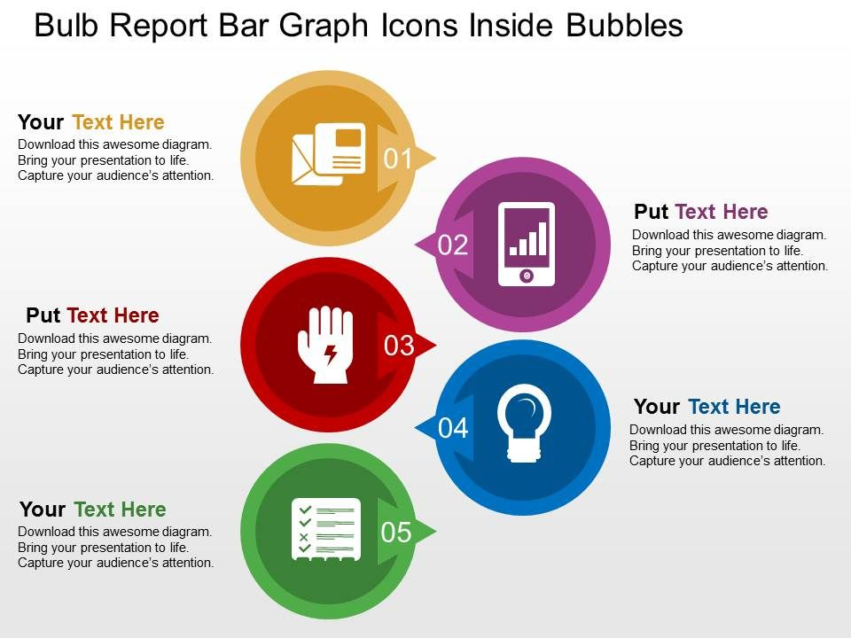 Bulb Report Bar Graph Icons Inside Bubbles Flat Powerpoint Design