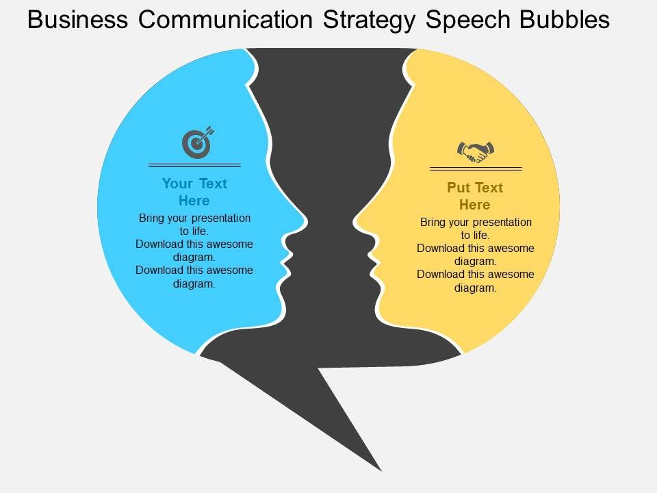 Business Communication Strategy Speech Bubbles Flat Powerpoint - bubbles power point