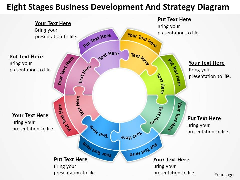 Business Flow Diagrams Eight Stages Development And Strategy - business development strategy ppt