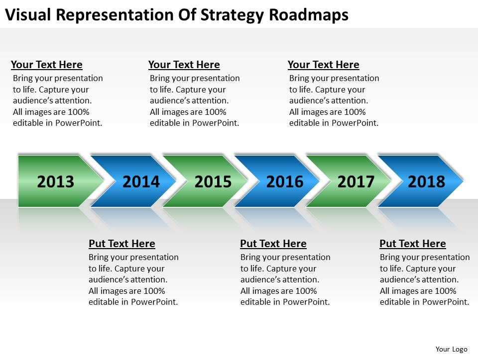 Business Flowcharts Visual Representation Of Strategy Roadmaps - roadmap powerpoint template