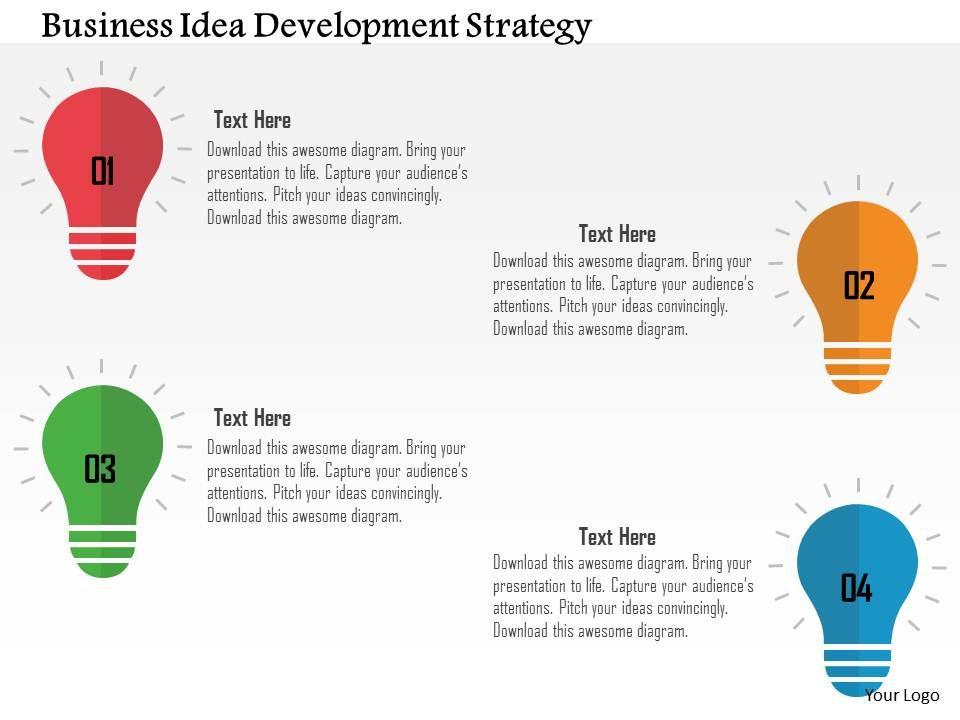 Business Idea Development Strategy Flat Powerpoint Design - business development strategy ppt