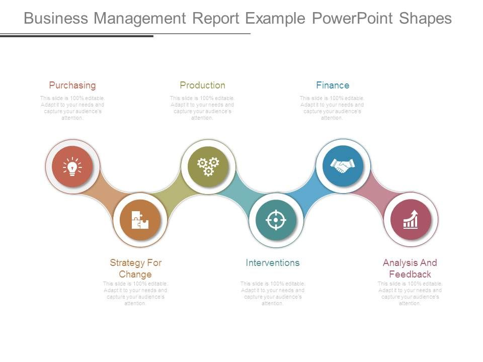 Business Management Report Example Powerpoint Shapes Presentation