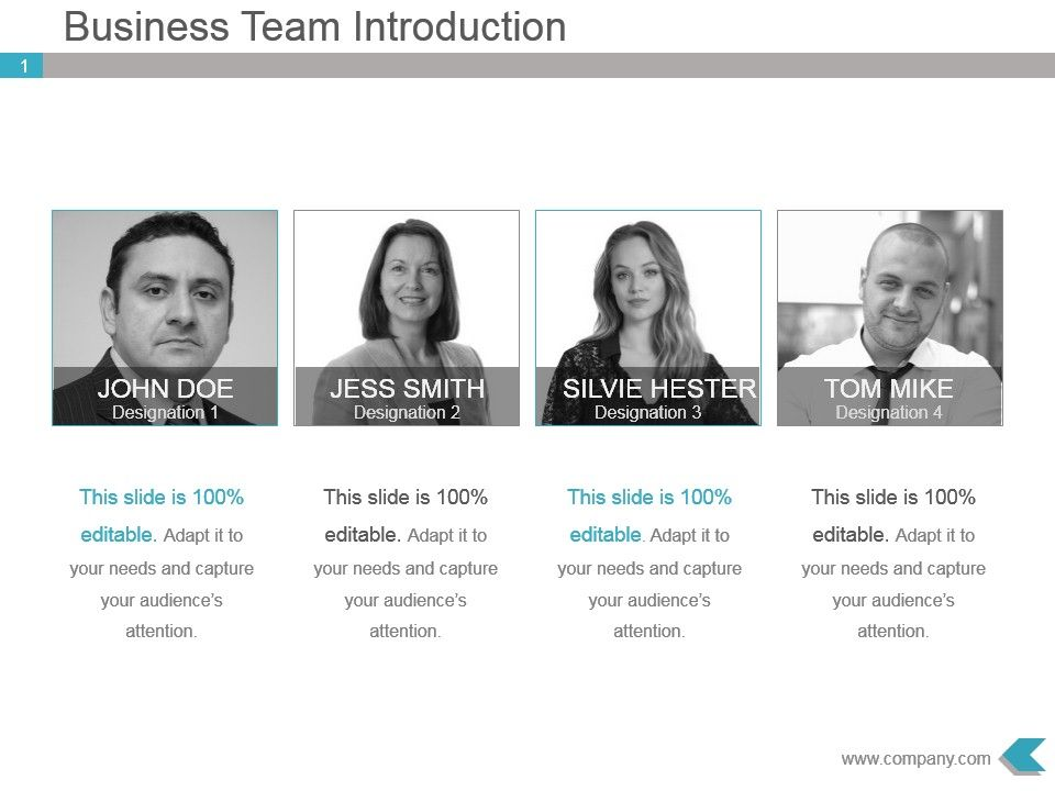 Business Team Introduction Ppt Template Design Presentation