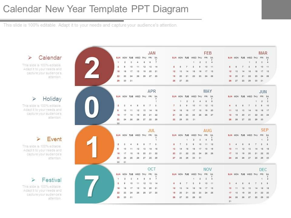 Calendar New Year Template Ppt Diagram Presentation PowerPoint - sample power point calendar