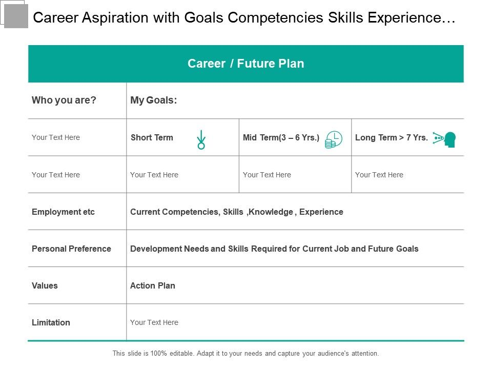 Career Aspiration With Goals Competencies Skills Experience And