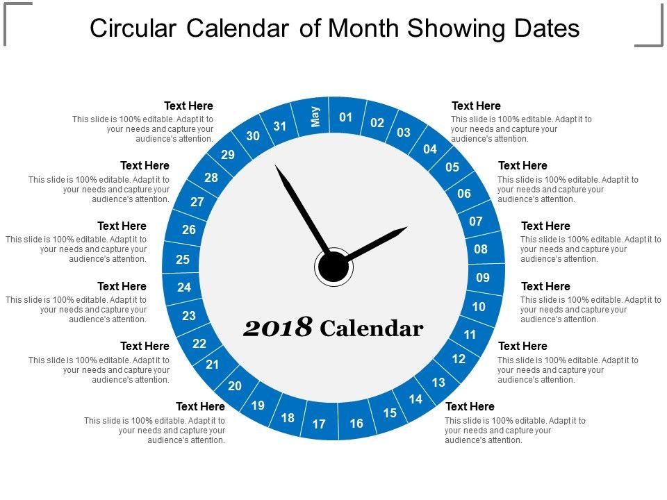 Circular Calendar Of Month Showing Dates PowerPoint Presentation - circular calendar