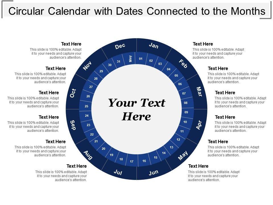 Circular Calendar With Dates Connected To The Months PowerPoint - circular calendar