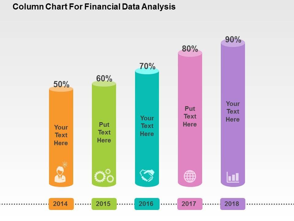 Coloumn Chart For Financial Data Analysis Flat Powerpoint Design