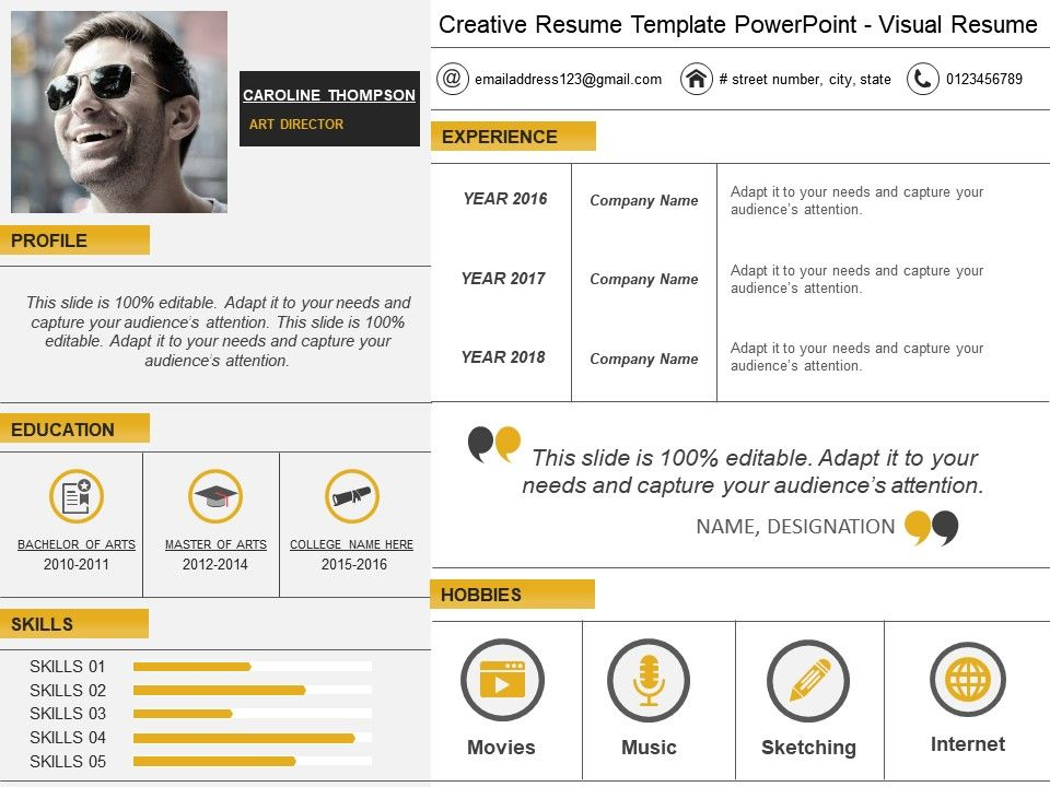 Creative Resume Template Powerpoint Visual Resume PowerPoint Slide - visual resume templates