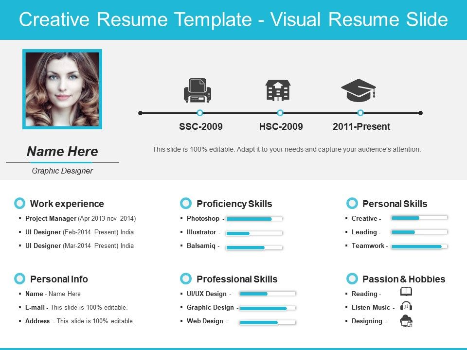 Creative Resume Template Visual Resume Slide Templates PowerPoint - visual resume templates